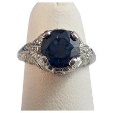 Estate 1970's Natural Sapphire Diamond Engagement Birthstone Ring Platinum