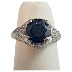 Vintage Estate Natural Sapphire Diamond Engagement Birthstone Ring Platinum