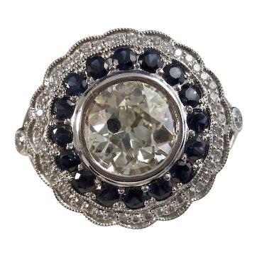 Antique Edwardian Old Euro Cut Diamond Sapphire Ring Platinum