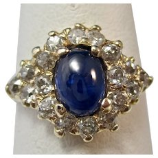 Vintage Estate Cabochon Sapphire & Diamond Engagement Ring 14K
