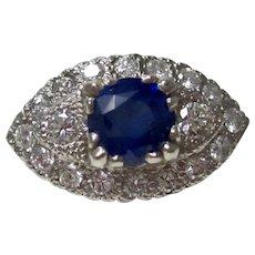 Vintage Estate Sapphire & Diamond 1950's Engagement Birthstone Ring 14K