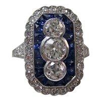 Antique Art Deco Sapphire & Diamond Wedding Birthstone Ring Platinum