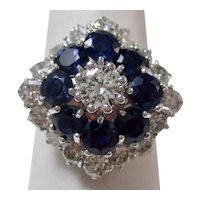 Vintage Estate Sapphire & Diamond Halo Ring 18K