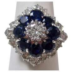 Vintage Estate Sapphire & Diamond Halo Ring 18K