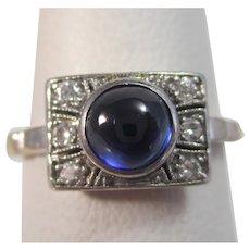 Antique Edwardian Sapphire & Diamond Ring Platinum