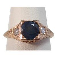 Vintage Estate Art Deco Sapphire & Diamond Engagement Ring 14K