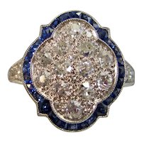 Vintage Estate Art Deco Diamond Sapphire Engagement Birthstone Ring Platinum