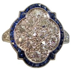 Vintage Estate Art Deco Diamond Sapphire Engagement Birthstone Ring Platinum