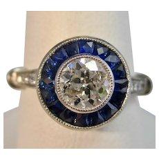 Antique Art Deco Sapphire Diamond Engagement Birthstone Ring Platinum