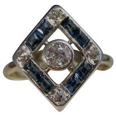 Vintage Estate 1930's Diamond & Sapphire Ring 14K