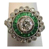 Antique Art Deco Diamond & Emerald Ring Platinum