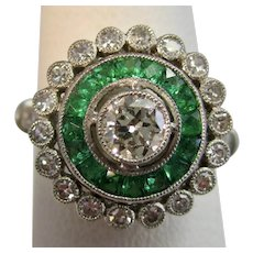 Antique Art Deco Diamond & Emerald Ring Platinum
