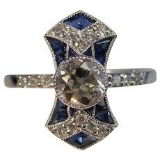 Vintage Estate Art Deco Diamond & Sapphire Engagement Ring 14K