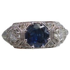 Vintage Estate Sapphire & Diamond Engagement Birthstone Ring 14K