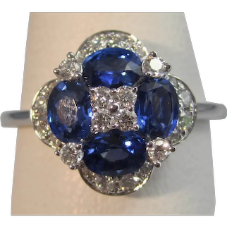 Vintage Estate Ceylon Sapphire & Diamond Ring 14K