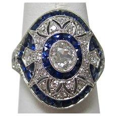 Antique Estate Diamond Sapphire Engagement Birthstone Ring Platinum