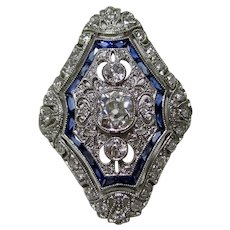 Vintage Estate Art Deco Diamond & Sapphire Ring Platinum