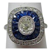 Vintage Estate French Art Deco Diamond & Sapphire Ring Platinum
