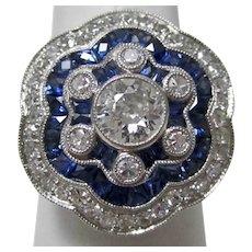 Vintage Estate Sapphire & Old European Cut Diamond Ring Platinum