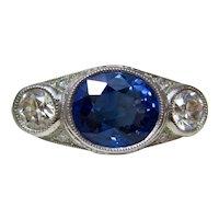 Antique Art Deco Sapphire & Diamond 3 Stone Engagement Ring Platinum