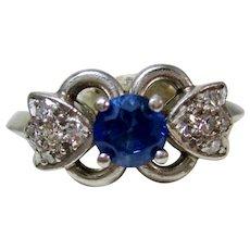 Vintage Estate 1930's Sapphire Diamond Birthstone Engagement Ring Platinum