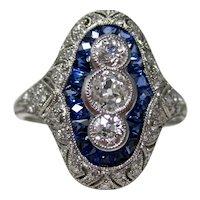 Vintage Estate Art Deco Sapphire & Diamond Engagement Birthstone Ring Platinum