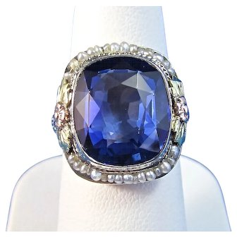 Art Deco Natural Spinel Estate Engagement Wedding Birthstone Anniversary Seed Pearl Ring 14K