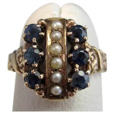 Antique Victorian Sapphire & Seed Pearl Engagement Ring