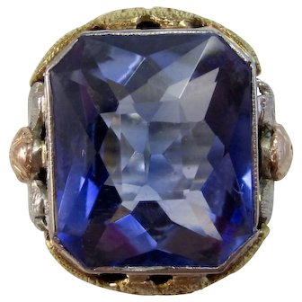 Art Deco Estate Sapphire Engagement Birthstone Ring 18K Yellow, White, Rose Gold