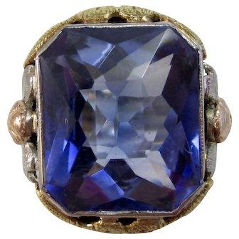 Art Deco Estate Sapphire Engagement Birthstone Ring 18K Yellow, White, Rose Gold