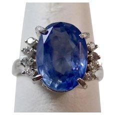 Vintage Estate 1950's Ceylon Sapphire & Diamond Ring Platinum