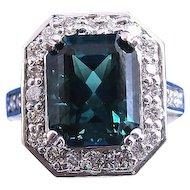 Natural Tourmaline Diamond Estate Engagement Birthstone Halo Ring 14K