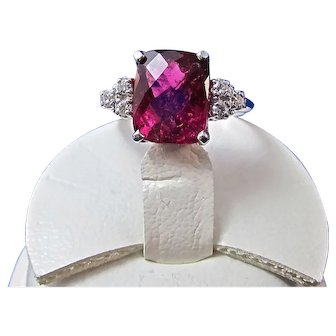 Natural Pink Tourmaline Diamond Estate Birthstone Engagement Ring 14K