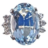 Natural Blue Topaz Diamond Estate Engagement Birthstone Wedding Day Ring 14K