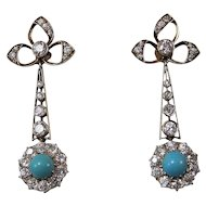 Art Deco Diamond & Turquoise Estate Dangle Birthstone Wedding Day Earrings 18K