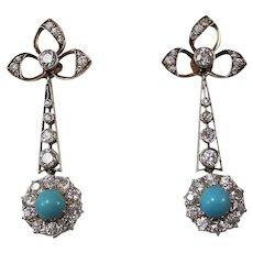 Art Deco Diamond & Turquoise Estate Dangle Birthstone Wedding Day Earrings 18K