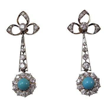 Art Deco Diamond & Turquoise Estate Dangle Earrings 18K