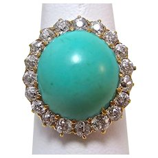 Antique Edwardian 1905 Turquoise & Diamond Engagement Birthstone Ring 14K
