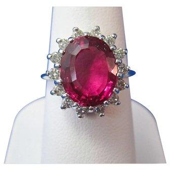 Natural Pink Tourmaline Diamond Halo Estate Engagement Birthstone Anniversary Ring 14K