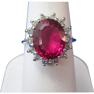 Natural Pink Tourmaline Diamond Halo Estate Engagement Birthstone Anniversary Ring 14K