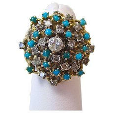 Diamond & Turquoise 1950's Estate Engagement Birthstone Wedding Dinner Ring 14K