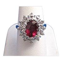 Natural Rubellite & Diamond Estate Engagement/Birthstone Halo Ring 14K