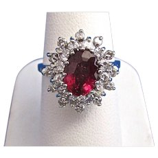 Natural Rubellite & Diamond Estate Engagement/Birthstone Halo Ring 14K