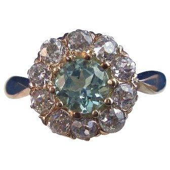 Natural  Zircon & Diamond 1950's Estate Engagement Wedding Birthstone Anniversary Ring 14K