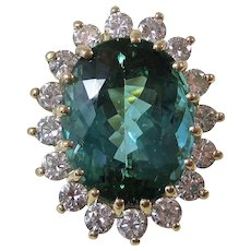 Natural Tourmaline & Diamond Engagement Wedding Birthstone Halo Estate Ring 14K