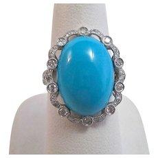 Estate 1950's-1960's Turquoise & Diamond Birthstone Anniversary Dinner Ring 18K