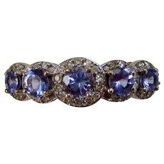 Vintage Estate Natural Tanzanite & Diamond Engagement Wedding Birthstone 5 Stone Ring