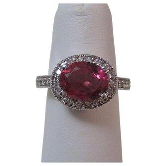 Estate Natural Pink Tourmaline & Diamond Halo Engagement Birthstone Anniversary Ring