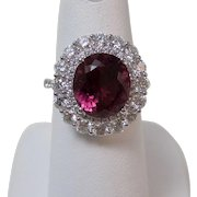 Estate Natural Pink Tourmaline & Diamond Halo Engagement Birthstone Ring 18K