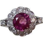 Estate Natural Pink Tourmaline & Diamond Art Deco Engagement Birthstone Halo Ring 14K
